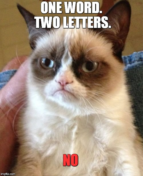 Grumpy Cat Meme | ONE WORD. TWO LETTERS. NO | image tagged in memes,grumpy cat | made w/ Imgflip meme maker