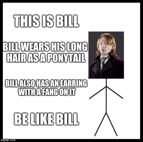 Be Like Bill Meme | THIS IS BILL BILL WEARS HIS LONG HAIR AS A PONYTAIL BILL ALSO HAS AN EARRING WITH A FANG ON IT BE LIKE BILL | image tagged in memes,be like bill,harry potter,bill weasley | made w/ Imgflip meme maker