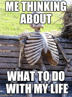 Waiting Skeleton Meme | ME THINKING ABOUT WHAT TO DO WITH MY LIFE | image tagged in memes,waiting skeleton | made w/ Imgflip meme maker