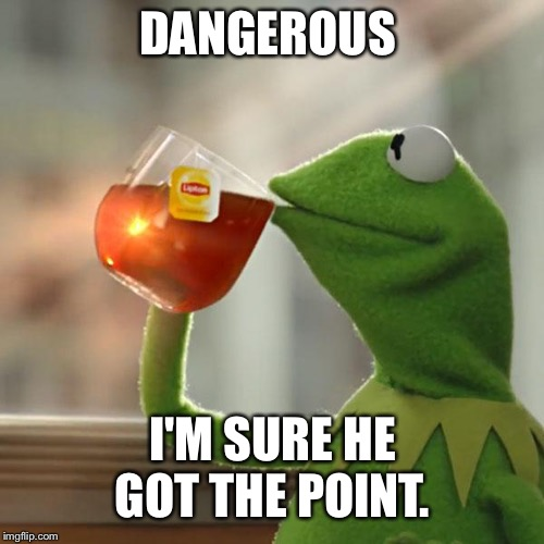 But Thats None Of My Business Meme | DANGEROUS I'M SURE HE GOT THE POINT. | image tagged in memes,but thats none of my business,kermit the frog | made w/ Imgflip meme maker