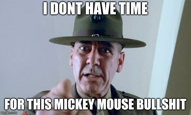R. Lee Ermy  | I DONT HAVE TIME FOR THIS MICKEY MOUSE BULLSHIT | image tagged in r lee ermy | made w/ Imgflip meme maker