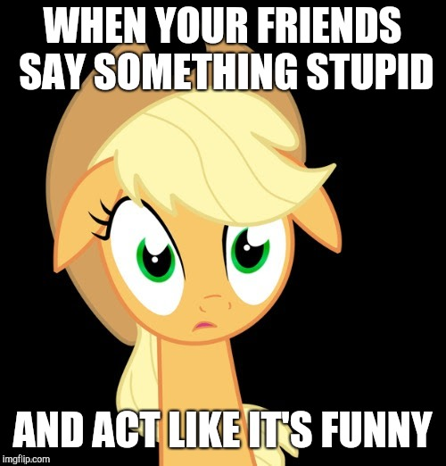 You wouldn't believe my friends! | WHEN YOUR FRIENDS SAY SOMETHING STUPID AND ACT LIKE IT'S FUNNY | image tagged in memes,ponies,friends,applejack,stupid | made w/ Imgflip meme maker