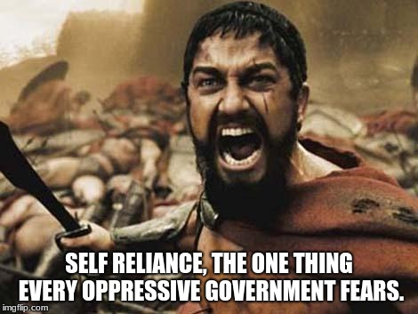 300 | SELF RELIANCE, THE ONE THING EVERY OPPRESSIVE GOVERNMENT FEARS. | image tagged in 300 | made w/ Imgflip meme maker