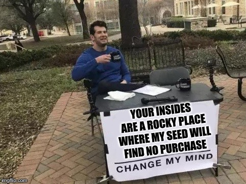 Change My Mind | YOUR INSIDES ARE A ROCKY PLACE WHERE MY SEED WILL FIND NO PURCHASE | image tagged in change my mind,seed,rocky place,whats that from | made w/ Imgflip meme maker