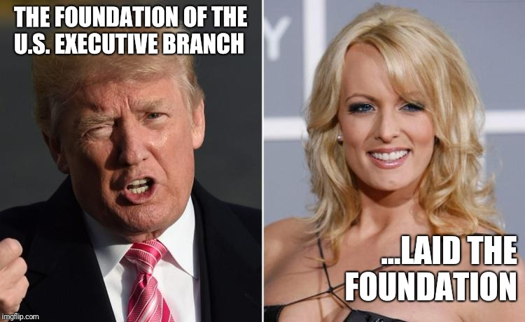 ALLEGEDLY!  Allegedly... | THE FOUNDATION OF THE U.S. EXECUTIVE BRANCH ...LAID THE FOUNDATION | image tagged in president,star,memes,dank,trump,stormy daniels | made w/ Imgflip meme maker