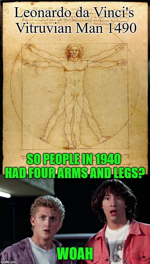 Ancient History | SO PEOPLE IN 1940 HAD FOUR ARMS AND LEGS? WOAH Leonardo da Vinci's Vitruvian Man 1490 | image tagged in funny memes,bill  ted,leonardo da vinci,keanu | made w/ Imgflip meme maker