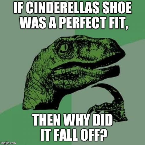 Philosoraptor Meme | IF CINDERELLAS SHOE WAS A PERFECT FIT, THEN WHY DID IT FALL OFF? | image tagged in memes,philosoraptor | made w/ Imgflip meme maker