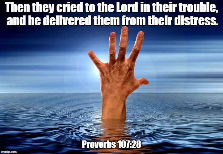 Rescue | Then they cried to the Lord in their trouble, and he delivered them from their distress. Proverbs 107:28 | image tagged in rescue,help,jesus | made w/ Imgflip meme maker