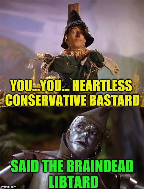 Political arguments always get personal.  | YOU...YOU... HEARTLESS CONSERVATIVE BASTARD SAID THE BRAINDEAD LIBTARD | image tagged in memes,wizard of oz,tinman,scarecrow,libtard,conservative bastard | made w/ Imgflip meme maker
