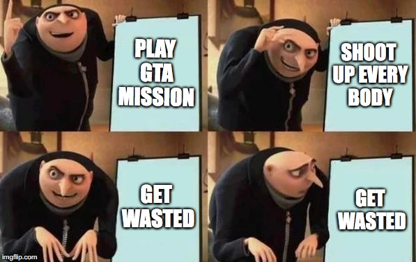 Gru's plan won't work! | PLAY GTA MISSION SHOOT UP EVERY BODY GET WASTED GET WASTED | image tagged in gru's plan,memes,gta | made w/ Imgflip meme maker