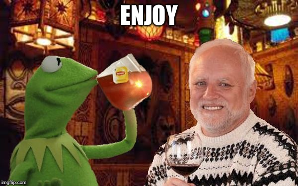 Harold and Kermit at the Oasis Lounge | ENJOY | image tagged in harold and kermit at the oasis lounge | made w/ Imgflip meme maker
