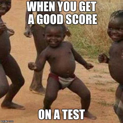 Third World Success Kid Meme | WHEN YOU GET A GOOD SCORE ON A TEST | image tagged in memes,third world success kid | made w/ Imgflip meme maker