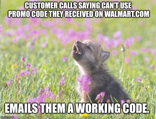 Baby Insanity Wolf Meme | CUSTOMER CALLS SAYING CAN'T USE PROMO CODE THEY RECEIVED ON WALMART.COM EMAILS THEM A WORKING CODE. | image tagged in memes,baby insanity wolf,AdviceAnimals | made w/ Imgflip meme maker
