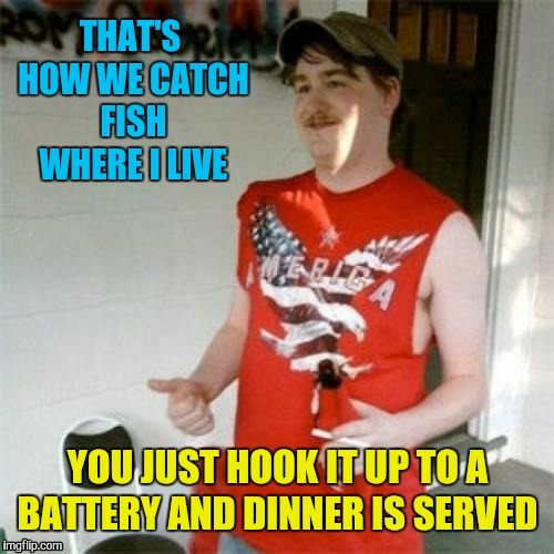 THAT'S HOW WE CATCH FISH WHERE I LIVE YOU JUST HOOK IT UP TO A BATTERY AND DINNER IS SERVED | made w/ Imgflip meme maker