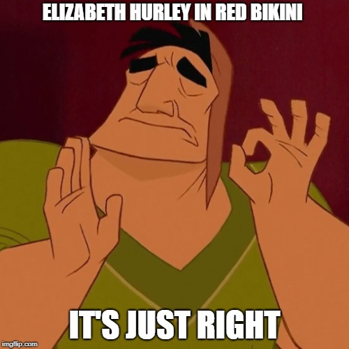 perfect | ELIZABETH HURLEY IN RED BIKINI IT'S JUST RIGHT | image tagged in it's just right,new template | made w/ Imgflip meme maker