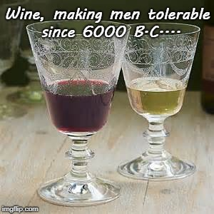 Wine... | Wine, making men tolerable since 6000 B.C.... | image tagged in men,tolerable,6000 bc | made w/ Imgflip meme maker