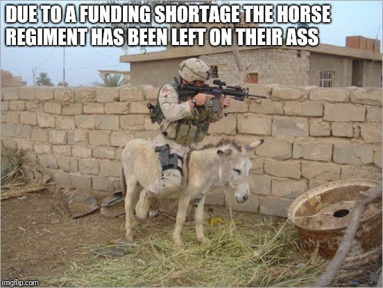 Cutbacks | DUE TO A FUNDING SHORTAGE THE HORSE REGIMENT HAS BEEN LEFT ON THEIR ASS | image tagged in ass | made w/ Imgflip meme maker