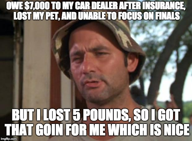 So I Got That Goin For Me Which Is Nice Meme | OWE $7,000 TO MY CAR DEALER AFTER INSURANCE, LOST MY PET, AND UNABLE TO FOCUS ON FINALS BUT I LOST 5 POUNDS, SO I GOT THAT GOIN FOR ME WHICH | image tagged in memes,so i got that goin for me which is nice,AdviceAnimals | made w/ Imgflip meme maker