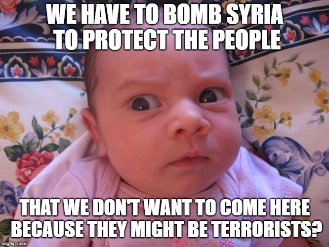 skeptical baby is skeptical | WE HAVE TO BOMB SYRIA TO PROTECT THE PEOPLE THAT WE DON'T WANT TO COME HERE BECAUSE THEY MIGHT BE TERRORISTS? | image tagged in skeptical baby,syria,bomb,trump,usa,america | made w/ Imgflip meme maker