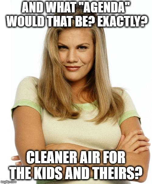 "Kirsten | AND WHAT ""AGENDA"" WOULD THAT BE? EXACTLY? CLEANER AIR FOR THE KIDS AND THEIRS? 