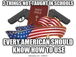 true american | 2 THINGS NOT TAUGHT IN SCHOOLS EVERY AMERICAN SHOULD KNOW HOW TO USE | image tagged in politics | made w/ Imgflip meme maker