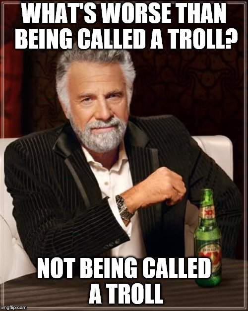 The Most Interesting Man In The World Meme | WHAT'S WORSE THAN BEING CALLED A TROLL? NOT BEING CALLED A TROLL | image tagged in memes,the most interesting man in the world | made w/ Imgflip meme maker