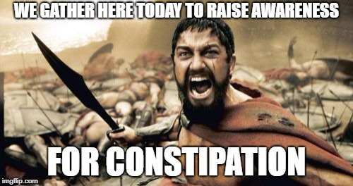 Sparta Leonidas | WE GATHER HERE TODAY TO RAISE AWARENESS FOR CONSTIPATION | image tagged in memes,sparta leonidas | made w/ Imgflip meme maker