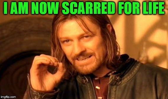 One Does Not Simply Meme | I AM NOW SCARRED FOR LIFE | image tagged in memes,one does not simply | made w/ Imgflip meme maker