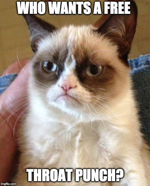 Grumpy Cat Meme | WHO WANTS A FREE THROAT PUNCH? | image tagged in memes,grumpy cat | made w/ Imgflip meme maker