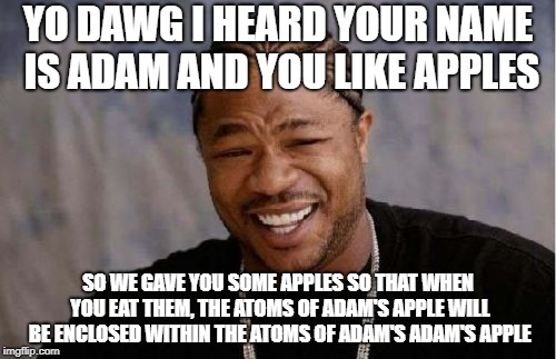 Adam's Apples | YO DAWG I HEARD YOUR NAME IS ADAM AND YOU LIKE APPLES SO WE GAVE YOU SOME APPLES SO THAT WHEN YOU EAT THEM, THE ATOMS OF ADAM'S APPLE WILL B | image tagged in yo dawg heard you | made w/ Imgflip meme maker