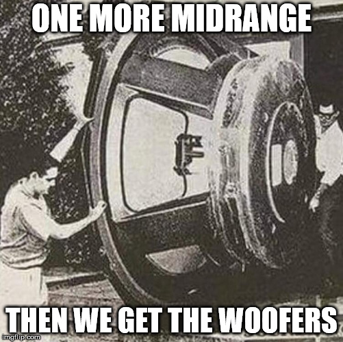 He's not going into a house, he's going into the cabinet itself | ONE MORE MIDRANGE THEN WE GET THE WOOFERS | image tagged in speakers | made w/ Imgflip meme maker