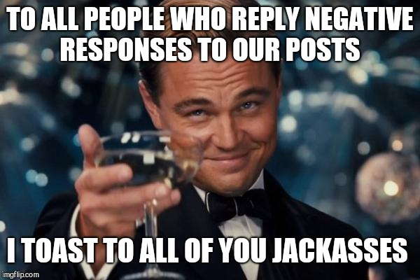 Leonardo Dicaprio Cheers Meme | TO ALL PEOPLE WHO REPLY NEGATIVE RESPONSES TO OUR POSTS I TOAST TO ALL OF YOU JACKASSES | image tagged in memes,leonardo dicaprio cheers | made w/ Imgflip meme maker