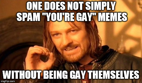 "Just stop it people, come on... | ONE DOES NOT SIMPLY SPAM ""YOU'RE GAY"" MEMES WITHOUT BEING GAY THEMSELVES 