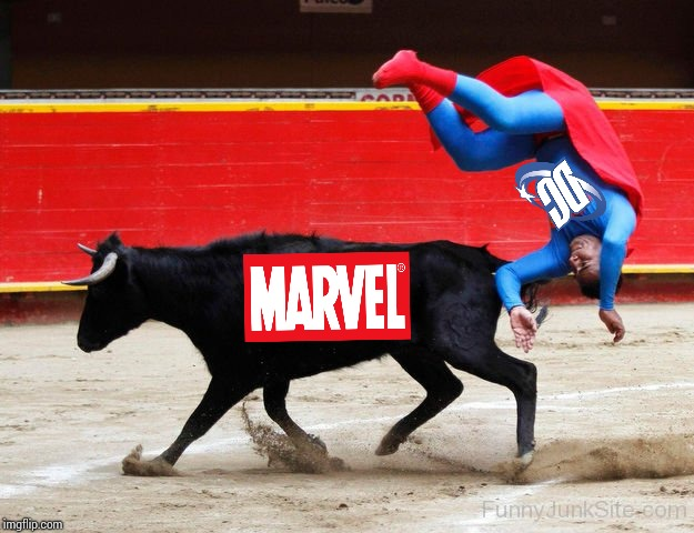 Marvel is a bull at the box office | image tagged in marvel,dc,superhero,superman,avengers,infinity war | made w/ Imgflip meme maker