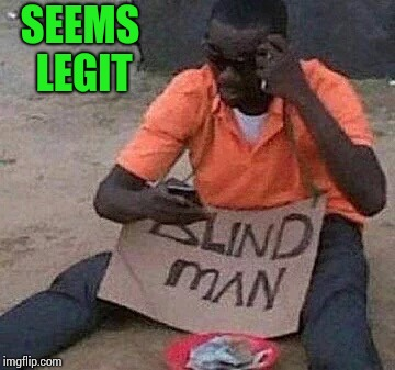 I'm blind to the facts | SEEMS LEGIT | image tagged in beggar,blind man,bum,pipe_picasso | made w/ Imgflip meme maker