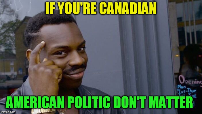 Roll Safe Think About It Meme | IF YOU'RE CANADIAN AMERICAN POLITIC DON'T MATTER | image tagged in memes,roll safe think about it | made w/ Imgflip meme maker