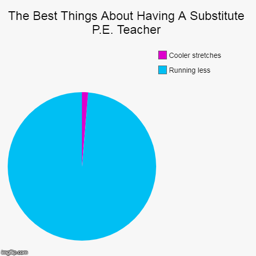 The Best Things About Having A Substitute P.E. Teacher | Running less, Cooler stretches | image tagged in funny,pie charts | made w/ Imgflip chart maker