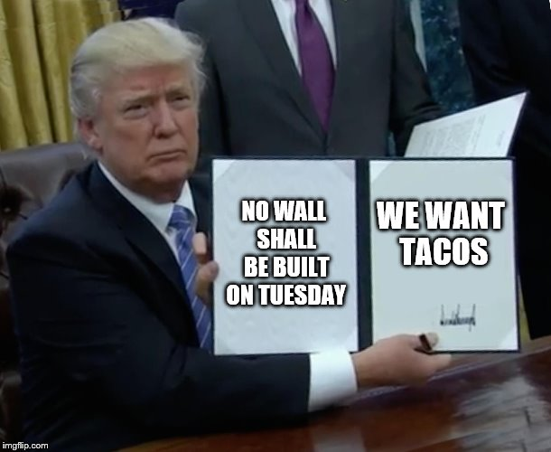 Trump Bill Signing Meme | NO WALL SHALL BE BUILT ON TUESDAY WE WANT TACOS | image tagged in memes,trump bill signing | made w/ Imgflip meme maker