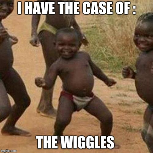 Third World Success Kid Meme | I HAVE THE CASE OF : THE WIGGLES | image tagged in memes,third world success kid | made w/ Imgflip meme maker