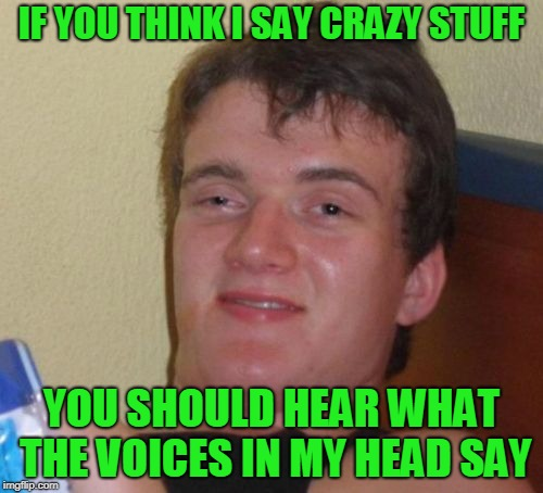 10 guy 10 voices. | IF YOU THINK I SAY CRAZY STUFF YOU SHOULD HEAR WHAT THE VOICES IN MY HEAD SAY | image tagged in memes,10 guy | made w/ Imgflip meme maker
