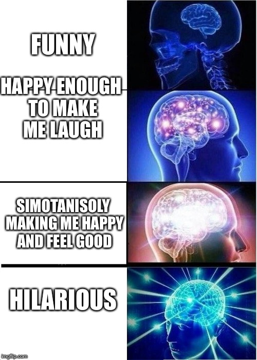 Expanding Brain Meme | FUNNY HAPPY ENOUGH TO MAKE ME LAUGH SIMOTANISOLY MAKING ME HAPPY AND FEEL GOOD HILARIOUS | image tagged in memes,expanding brain | made w/ Imgflip meme maker