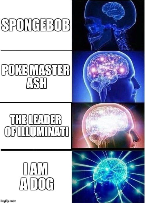 Expanding Brain Meme | SPONGEBOB POKE MASTER ASH THE LEADER OF ILLUMINATI I AM A DOG | image tagged in memes,expanding brain | made w/ Imgflip meme maker