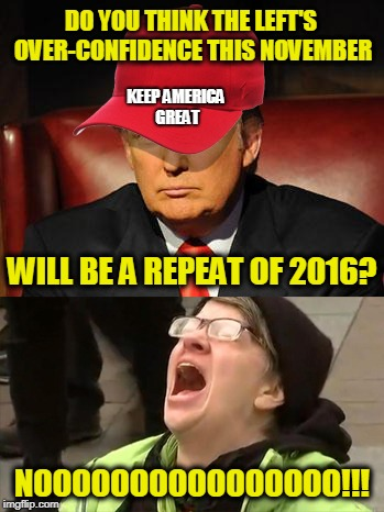 Tormentor in Chief | DO YOU THINK THE LEFT'S OVER-CONFIDENCE THIS NOVEMBER NOOOOOOOOOOOOOOOO!!! WILL BE A REPEAT OF 2016? KEEP AMERICA GREAT | image tagged in trump hat no | made w/ Imgflip meme maker