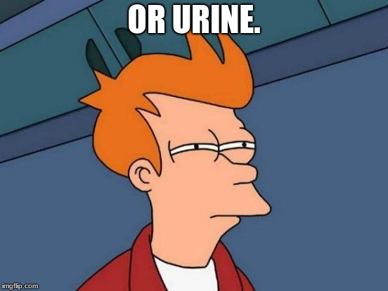 Futurama Fry Meme | OR URINE. | image tagged in memes,futurama fry | made w/ Imgflip meme maker
