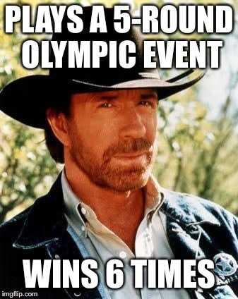 Chuck Norris Meme | PLAYS A 5-ROUND OLYMPIC EVENT WINS 6 TIMES | image tagged in memes,chuck norris | made w/ Imgflip meme maker
