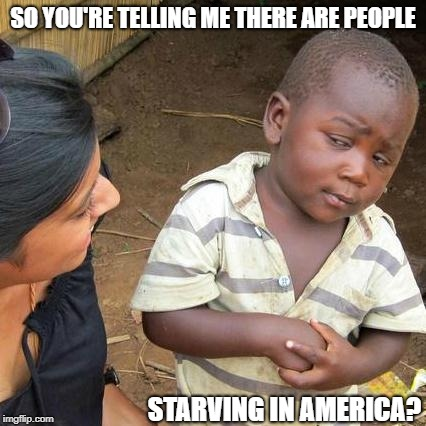 Third World Skeptical Kid Meme | SO YOU'RE TELLING ME THERE ARE PEOPLE STARVING IN AMERICA? | image tagged in memes,third world skeptical kid | made w/ Imgflip meme maker