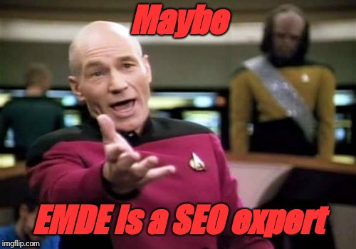 Picard Wtf Meme | Maybe EMDE is a SEO expert | image tagged in memes,picard wtf | made w/ Imgflip meme maker