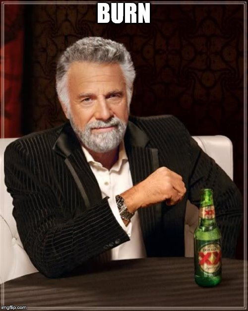 The Most Interesting Man In The World Meme | BURN | image tagged in memes,the most interesting man in the world | made w/ Imgflip meme maker