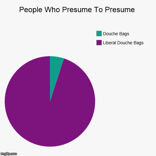 People Who Presume To Presume | Liberal Douche Bags, Douche Bags | image tagged in funny,pie charts,liberals | made w/ Imgflip chart maker
