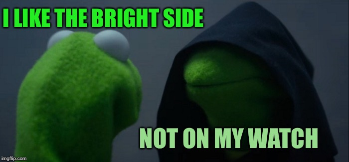 Evil Kermit Meme | I LIKE THE BRIGHT SIDE NOT ON MY WATCH | image tagged in memes,evil kermit | made w/ Imgflip meme maker